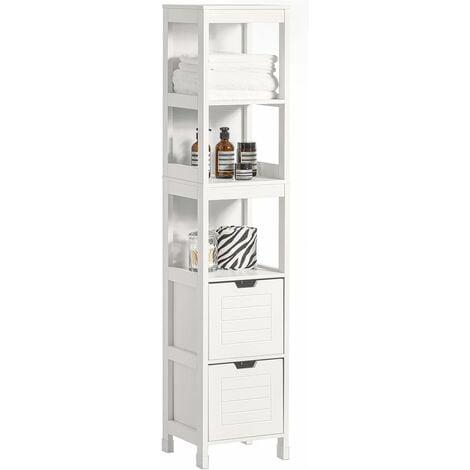 Meuble Colonne de Salle de Bain Armoire Toilette haute – 4 étagères et 2 tiroirs- Blanc SoBuy® FRG126-W