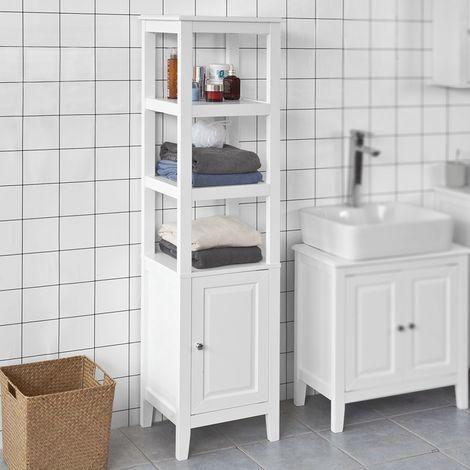 Meuble Colonne de Salle de Bain Armoire Toilette haute – Blanc FRG205-W SoBuy®