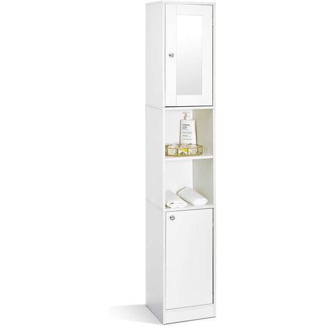 """main image of """"Meuble Colonne de Salle de Bain - Meuble de Rangement Moderne - Blanc - 2 Portes, 1 Miroir, 6 étagères, 180x30x28cm - MONDEER - blanc"""""""