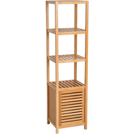 Meuble colonne rangement salle de bain bambou design naturel 36L x 33l x 140H cm 2 étagères 4 niveaux + placard - Marron