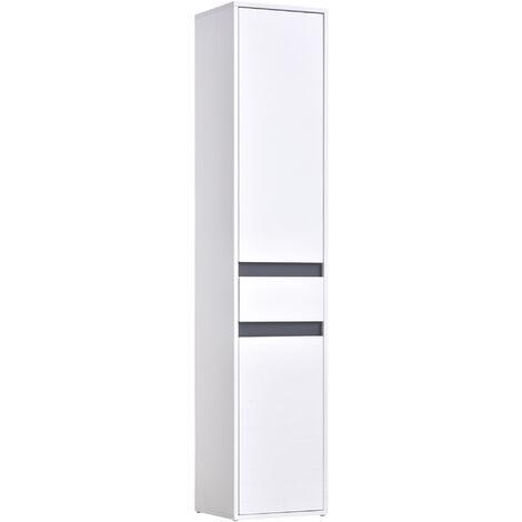 Meuble colonne rangement salle de bain style contemporain 2 placards 3 étagères et tiroir coulissant panneaux particules blanc