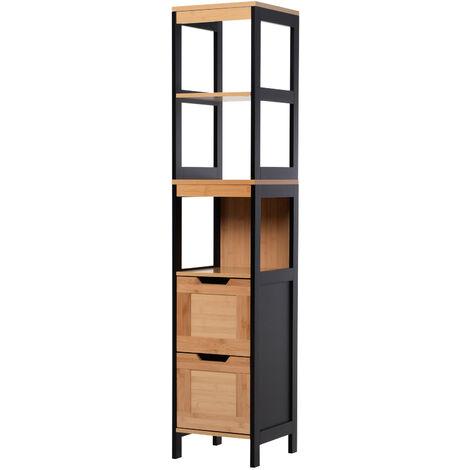Meuble colonne rangement salle de bain style cosy dim. 30L x 30l x 144H cm 3 étagères 2 tiroirs bambou MDF noir - Marron