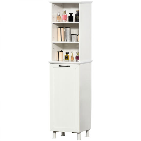 Meuble colonne rangement salle de bain sur pied dim. 40L x 34l x 154H cm 3 étagères + panier à linge panneaux particules blanc