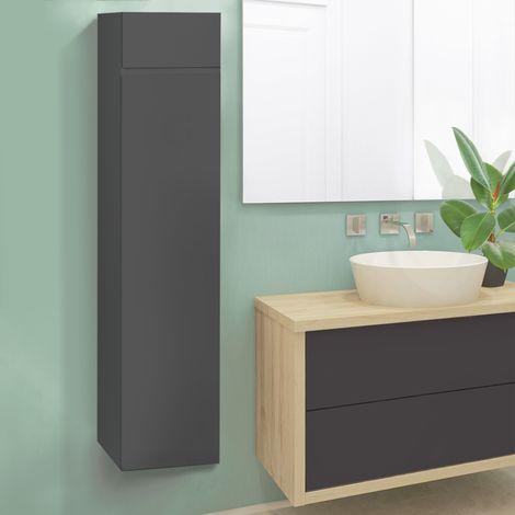 Meuble colonne suspendu gris LILA pour salle de bain