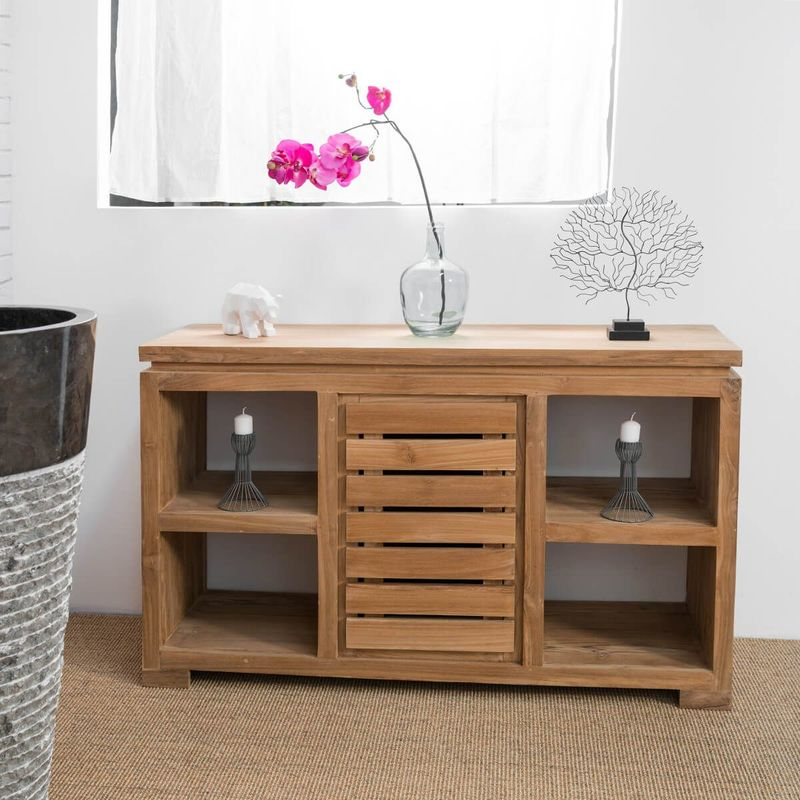 Meuble commode buffet salle de bain en teck massif 120 cm Salle de bain avec meuble cuisine
