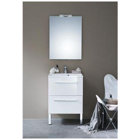 Meuble CONCERTO 90 cm 2 tiroirs blanc brillant, ALTERNA, Ref.129070711