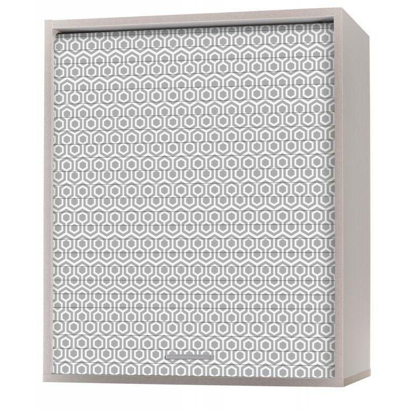 Beaux Meubles Pas Chers - Meuble Cuisine Alu 60x72 Face Imprimée - Coloris Rideau: Hexagones Gris 521