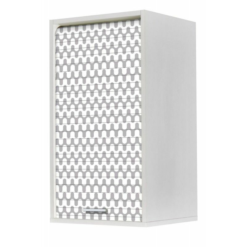Beaux Meubles Pas Chers - Meuble Cuisine Blanc 40x72 Face Imprimée - Coloris Rideau: Vagues Grises 810