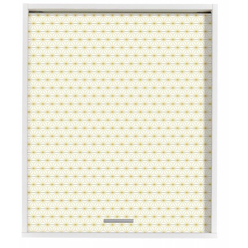 Beaux Meubles Pas Chers - Meuble Cuisine Blanc 60x72 Face Imprimée - Coloris Rideau: Ciel étoilé jaune 520