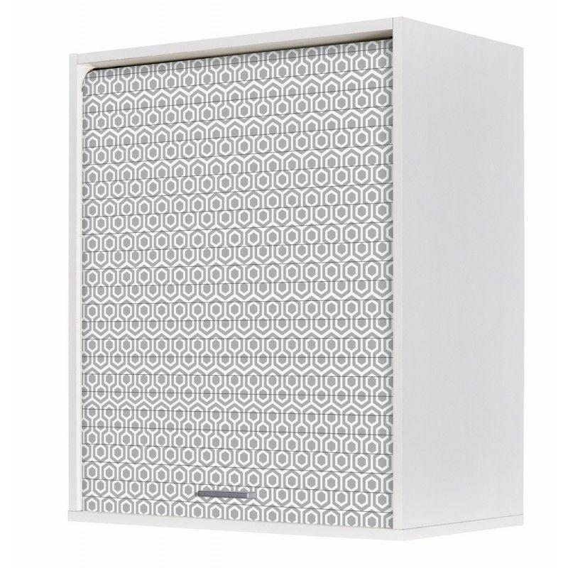 Beaux Meubles Pas Chers - Meuble Cuisine Blanc 60x72 Face Imprimée - Coloris Rideau: Hexagones Gris 521