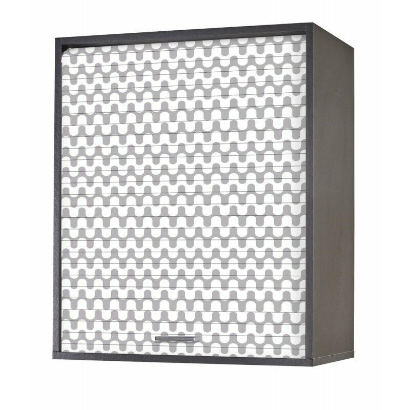 Beaux Meubles Pas Chers - Meuble Cuisine Noir 60x72 Face Imprimée - Coloris Rideau: Vagues Grises 810