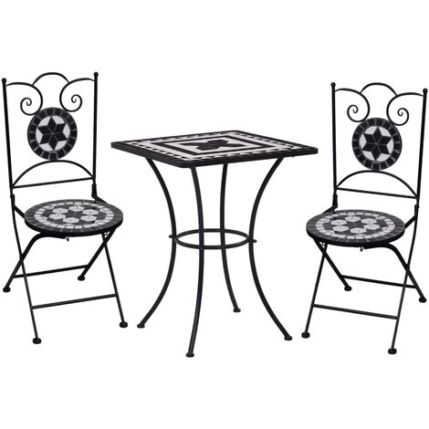 Meuble de bistro mosaïque 3pcs Carreaux céramiques Noir/blanc
