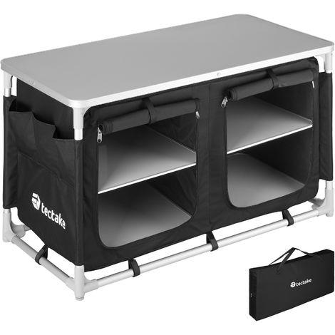 Meuble de camping 2 compartiments 4 étagères - meuble de rangement cuisine, cuisine de camping, equipement camping