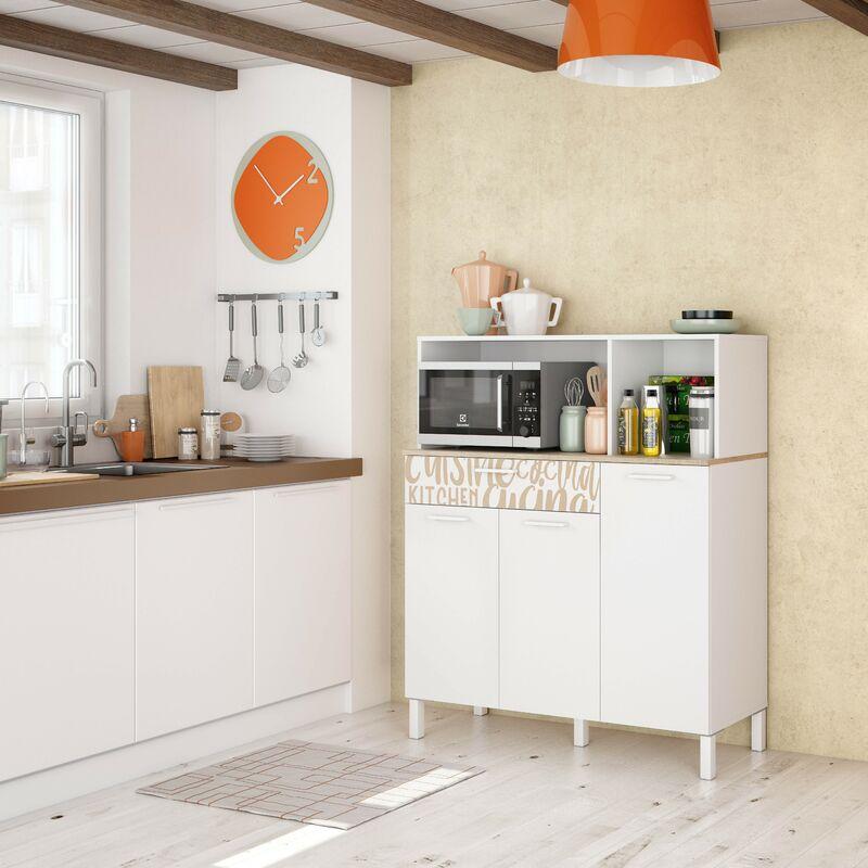 Meuble de cuisine 108x40x126 cm Blanc mat et Roble canadien avec impression décorative | chêne et blanc