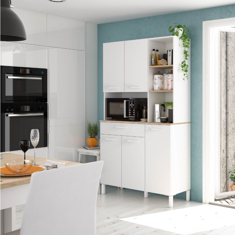 Meuble de cuisine 108x40x186 cm Blanc mat et Roble canadien | Blanc artik et Roble canadian