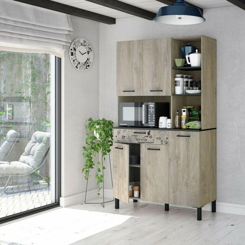 Meuble de cuisine 108x40x186 cm chêne et gris anthracite | chêne et gris