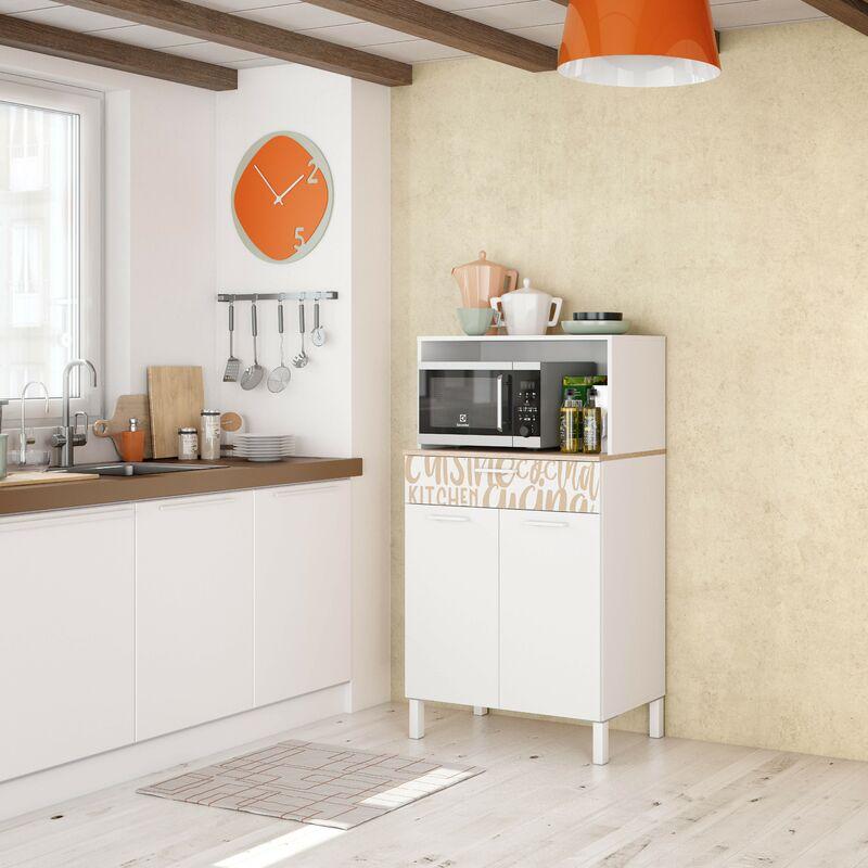 Meuble de cuisine 72x40x126 cm Blanc mat et Roble canadien avec impression décorative | chêne et blanc