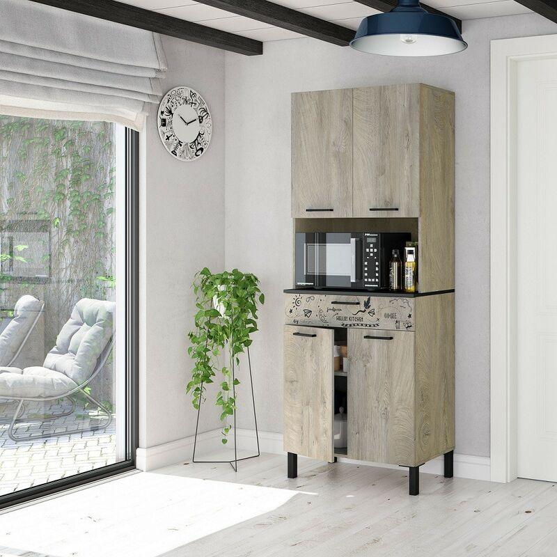 Meuble de cuisine 72x40x186 cm chêne et gris anthracite | chêne et gris