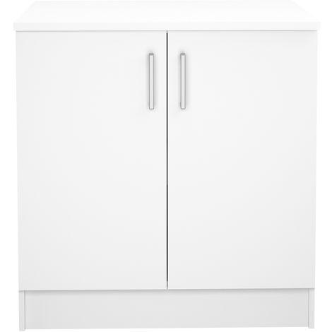 Meuble De Cuisine Bas De 2 Portes Coloris Blanc Dim L 80 X P 60 X H 85 Cm Pegane 47apn 522044