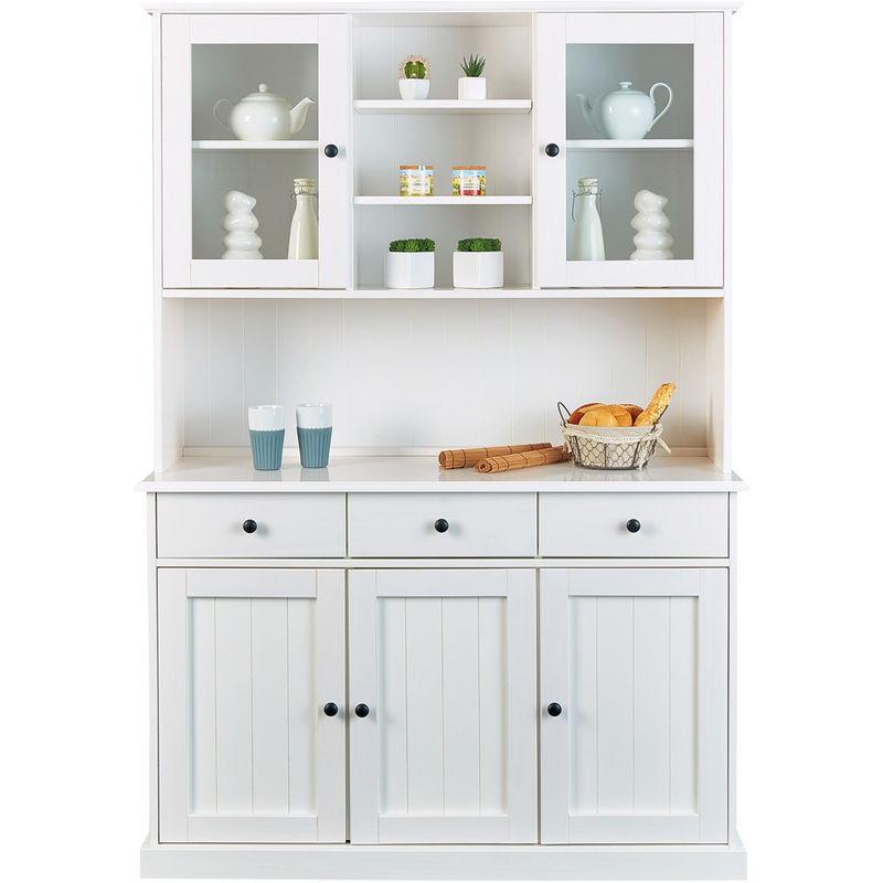 Pegane - Meuble de cuisine en bois massif blanc avec 5 portes et 3 tiroirs - Dim : L131 x H191 x P45 cm