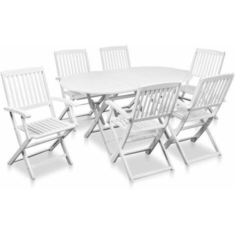 Mobilier à dîner de jardin 7 pcs Bois d\'acacia solide Blanc - 41791