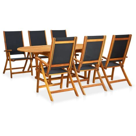 Meuble de jardin 7 pcs Table extensible Pliable Bois d\'acacia - 41749