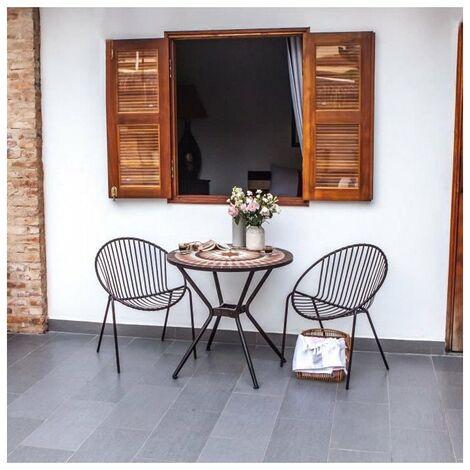 Meuble de jardin - Table de jardin acier et mosaique en céramique ronde - Ø  80 cm
