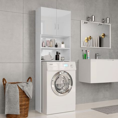 Meuble de machine à laver Blanc brillant 64x25,5x190 cm