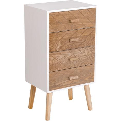Meuble de rangement chiffonnier design scandinave 40L x 30l x 75H cm 4 tiroirs bois massif pin MDF blanc et hêtre motif graphique