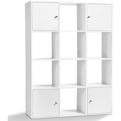 Meuble de rangement cube 12 cases bois blanc avec portes