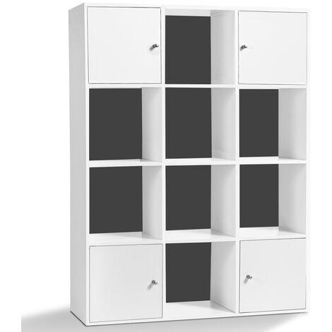 Meuble de rangement cube RUDY 12 cases bois blanc avec portes fond gris
