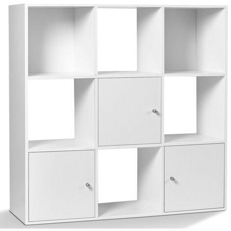 Meuble de rangement cube RUDY 9 cases bois blanc avec 3 portes