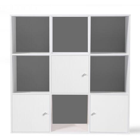 Meuble de rangement cube RUDY 9 cases bois blanc avec 3 portes fond gris