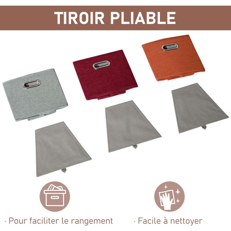 Meuble De Rangement D Angle Unite De Rangement 9 Niches 3 Tiroirs Non Tisse Mdf Blanc