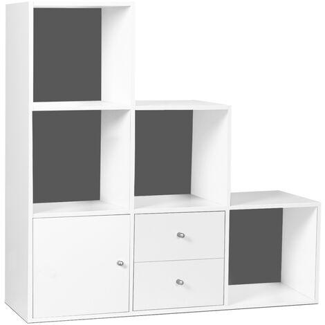Meuble de rangement en escalier LIAM 3 niveaux bois blanc fond gris avec porte et tiroirs