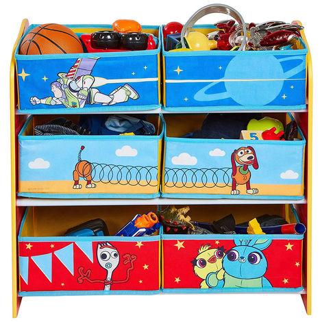 Meuble de rangement pour chambre d\'enfant avec 6 bacs Toy Story Disney  -PEGANE-