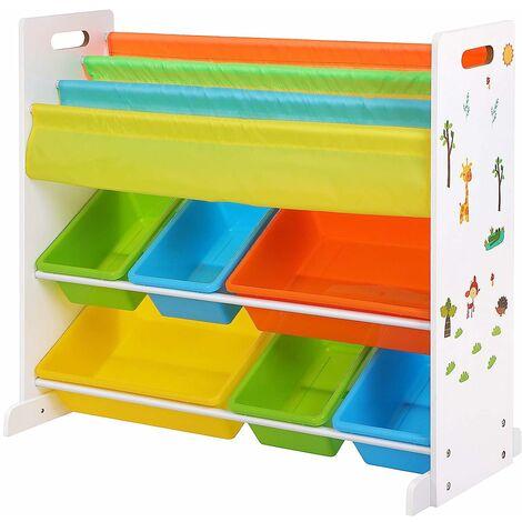 Meuble de Rangement pour Jouets et Livres, Étagère de Rangement pour Chambre d'Enfant, avec Paniers Amovibles, Multi-Colore GKR03W - Multi-Colore