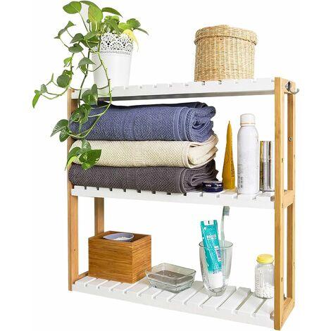 Meuble de Rangement pour salle de bain toilettes, Cuisine, 3 niveaux avec 2 crochets FRG28-WN SoBuy®