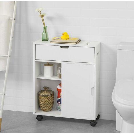Meuble de Rangement Salle de Bain Armoire de Côté Rangement Polyvalente Meuble WC pour Papier Toilette,SoBuy BZR31-W