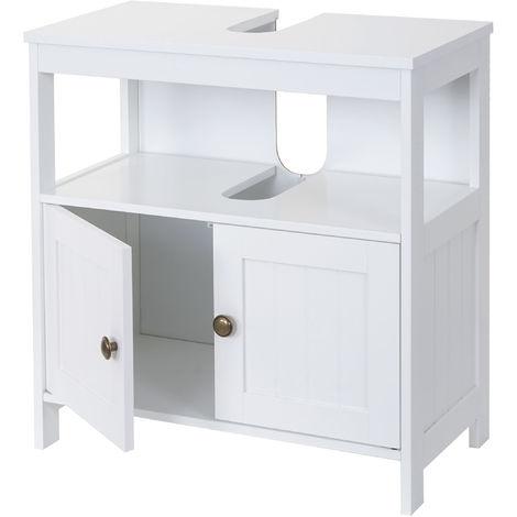 Meuble de rangement sous-lavabo HHG-590, salle de bain, sous-vasque, 60x60x30 cm, blanc