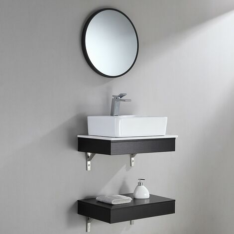Meuble de salle bain moderne noir avec lavabo