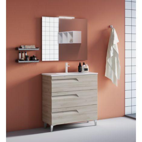 Meuble de salle de bain 100 cm Blanc Nature avec lavabo en céramique