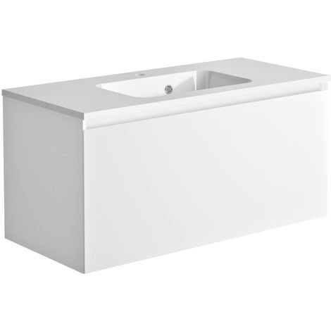 Meuble de salle de bain 100 cm Nordik blanc ultra mat et vasque en polybéton