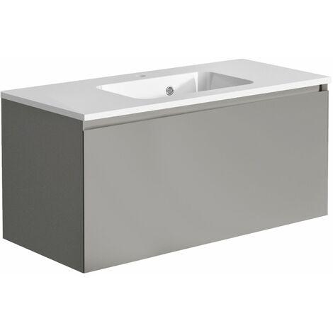 Meuble de salle de bain 100 cm Nordik gris ultra mat et vasque en polybéton