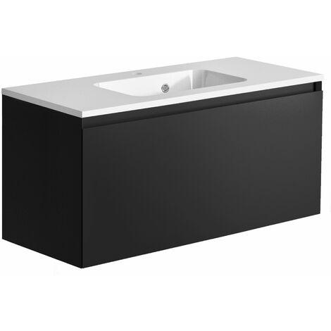 Meuble de salle de bain 100 cm Nordik noir ultra mat et vasque en polybéton