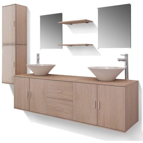 Meuble de salle de bain 11 pcs avec lavabo et robinet Beige