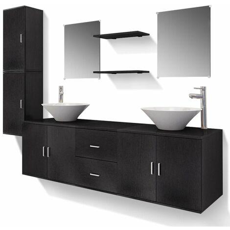 Meuble de salle de bain 11 pcs avec lavabo et robinet noir - Meuble salle de bain avec lavabo ...