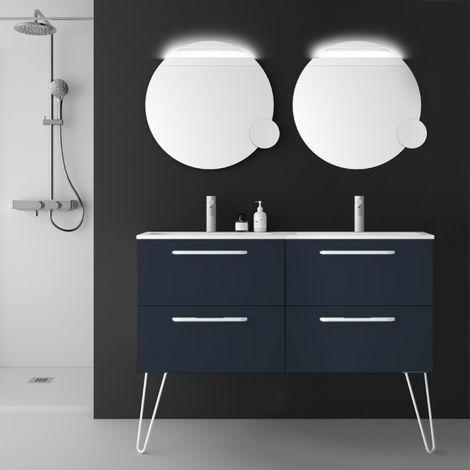Meuble de salle de bain 120 cm couleur bleu nuit à suspendre double vasque - So matt