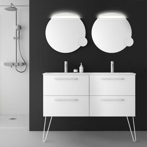Meuble de salle de bain 120 cm double vasque de couleur blanc à suspendre - So matt