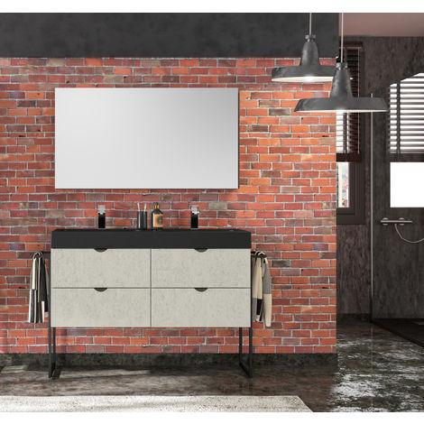 Meuble de salle de bain 120 cm Faktory béton minéral et plan de toilette noir mat